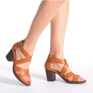 Black Genuine Leather Retro Block Heel Sandal